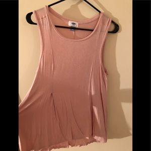Old Navy Blush Pleated Cotton Tank